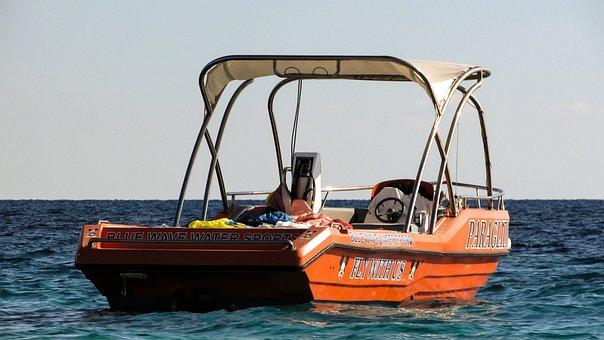 Speed Boat, Sea, Water Sports, Orange, Sport, Vessel
