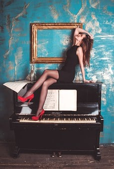 Girl, Piano, Grand Piano, Shoes, Picture