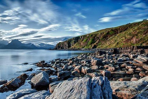 Coast, Beach, Rock, Stones, Sky, Clouds, Lake, Water