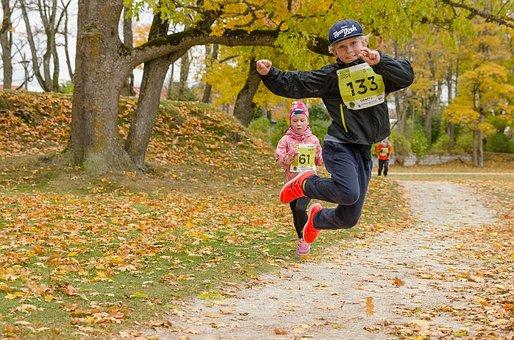 Marathon, Sport, Children, Run, Autumn, Park
