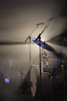 Drum Kit, Light, Spotlight, Rock, Cymbal, Drum