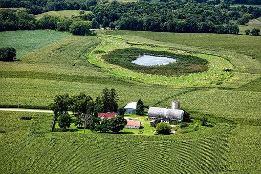 Wisconsin, Aerial View, Farm, Landscape, Scenic, Nature