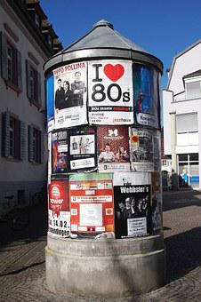 Advertising Pillar, Litfaß, Posters, Announcement