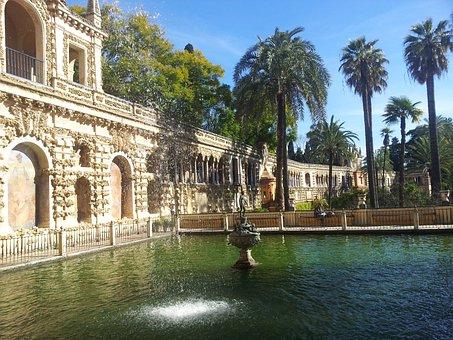 Alcazar, Seville, Andalusia, Lake, Fountain, Sculpture
