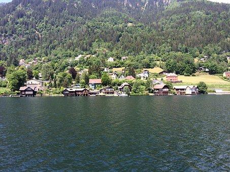 Houses On Lake, Shore Area, Austria