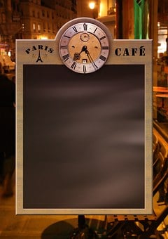 Menu, Board, Blackboard, Clock, Restaurant, Cafe, Bar