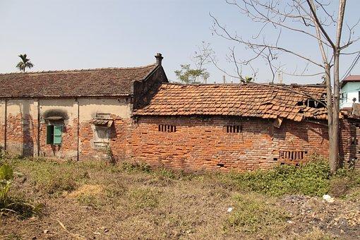 Viet Nam, Barn, Old, Bricks, House, Countryside
