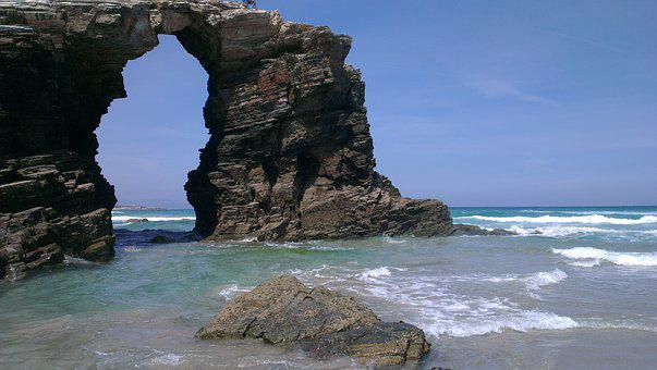 Beach, Ribadeo, Arc, Beach Of The Cathedrals, Galicia