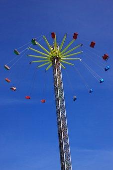 Air, Amusement, Blue, Carousel, Chains, Chairs, Circle