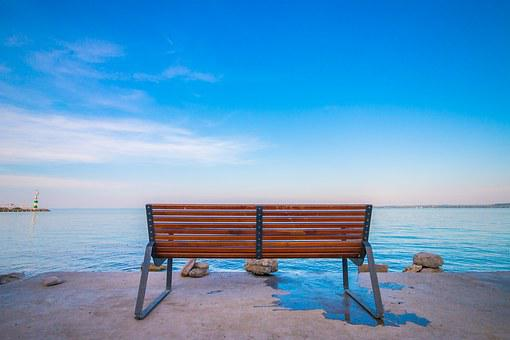 Bench, Sunset, Sky, Blue, Water, Lake, Cost, Rock