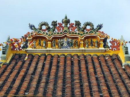 Viet Nam, Booed, Roofing, Fresco, Decoration Dragons