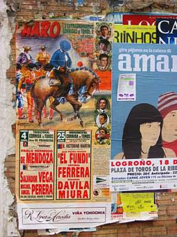 Poster, Competition, Bull Fighting, Spain, Wall