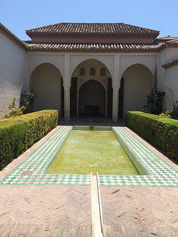 Alcazaba, Malaga, Court, Fountain, Garden, Moorish