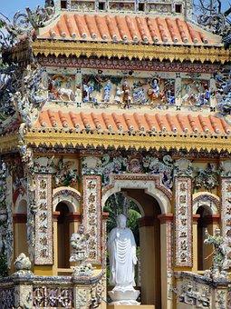 Viet Nam, Cao Dai Temple, Door, Decoration, Statue
