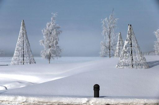 Roundabout, Snow, Dis, White, Winter