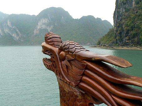 Viet Nam, Halong, Sugarloaves, Dragon, Bow, Figurehead