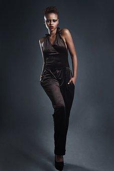 Model, Red Lips, Fashion, Jumpsuit, Black, Woman