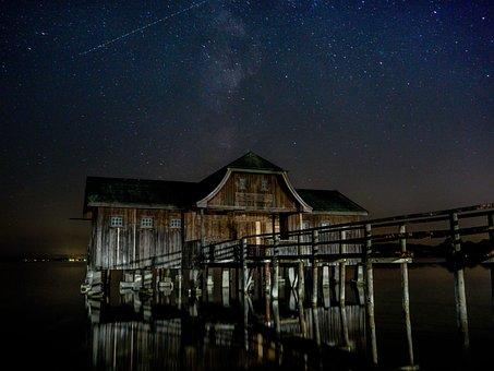 Hut, Lake, Sky, Star, Landscape, Log Cabin, Nature