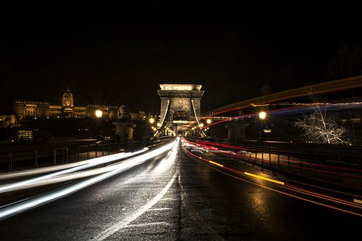 Chain Bridge, Long Shutter Speed, Night Picture, City