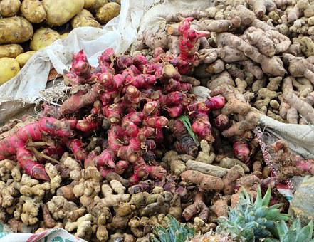 Viet Nam, Spices, Red Ginger, Market, The Roots