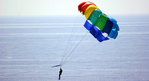 Parachute, Sea, Sky, Costa, Nerja, Turquoise, Beach