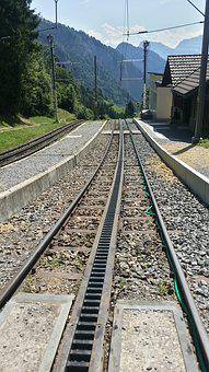 Rail, Train, Rack And Pinion, Railway, Mountain, Alps