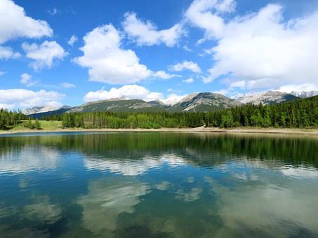 Lake, Reflection On Lake, Sunny, Water, Sky, Reflection