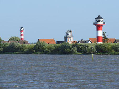 Elbe, Lighthouse, Old Country, River, Water, Landscape
