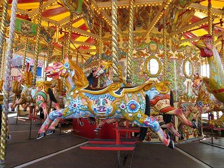Merry, Go, Round, Brighton, Pier, Amusement
