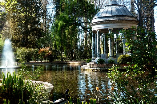 Garden, Landscape, Pond, Roundabout