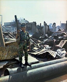 Young Child, Sad, Soldier, War, Viet Nam, 1968