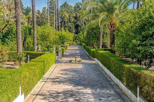 Seville, Spain, Alcazar Of Seville, Garden, Walkway