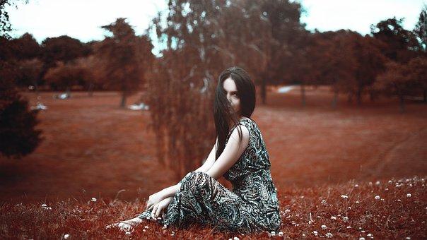 Beautiful Girl, Sitting, On The Grass, Fashion, Female