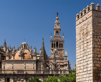 Seville, Spain, Real Alcazar, Cathedral, Church