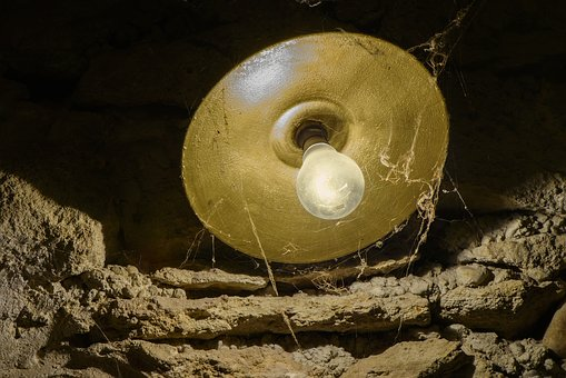 Lamp, Spider Web, Cave, Lighting, Stone Wall, Dust