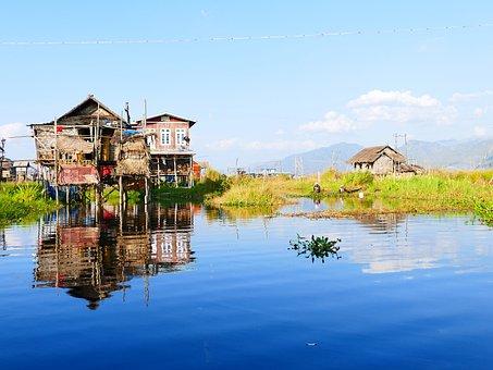 Home, Stalk, Water, Stilt House, Hut, Stilt Houses