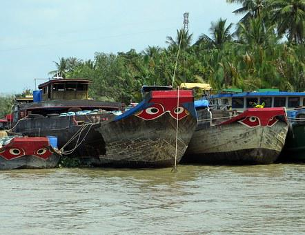 Viet Nam, Mekong, Barges, Navigation, Red Eye, Can Tho