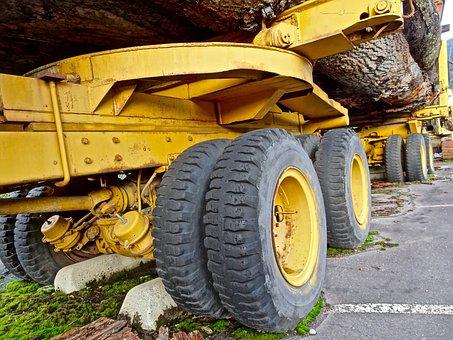 Wheels, Log Truck, Transport, Trailer, Wood, Vehicle