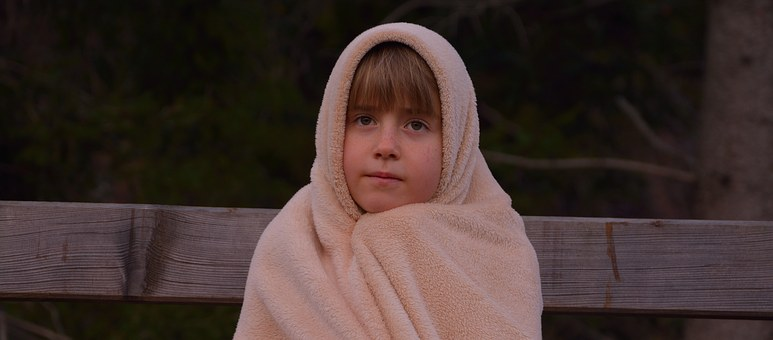 Child, Girl, Blanket, Evening, Freeze, Alone, Lonely