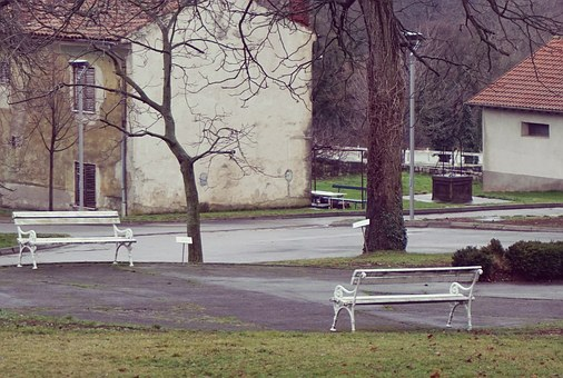 Town, City, Park, Beautiful Bench, Bench, House