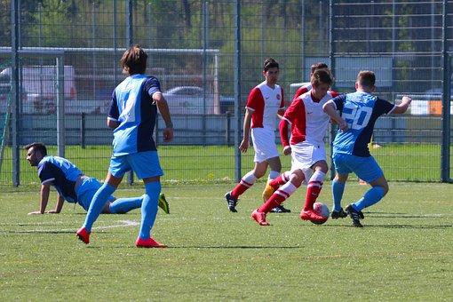 Meadow, Athletes, Football, Duel, Use, Skill