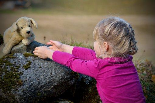 Child, Girl, Blond, Teddy Bear, Nature, Play