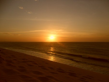 Jijoca De Jericoacoara, Sea, Sun, Horizon, Sunset