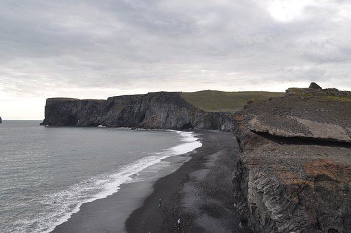 Iceland, Lava, Beach, Water, Rock, Black Stone