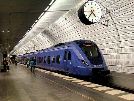 Pågatåg, Sweden, Subway, Platform, Train