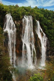 Big Waterfall, Plitvice, Kozjak Lake, Croatia, Water