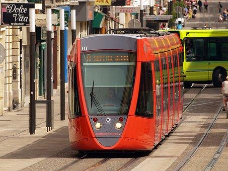 Reims, France, Tram, Shuttle, Vehicle, Railway