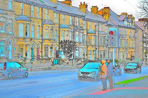 Street, People, Cars, Houses, Illustrations, Traffic