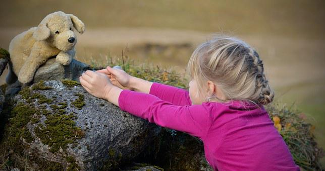 Child, Nature, Girl, Blond, Teddy Bear, Favorite Toy