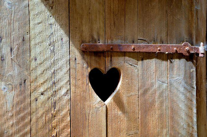 Door, Old, Wooden Door, Heart, Toilet, Rusty, Wood
